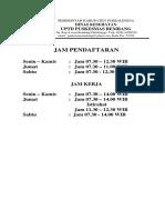 Informasi, Jenis Dan Jadwal Pelayanan
