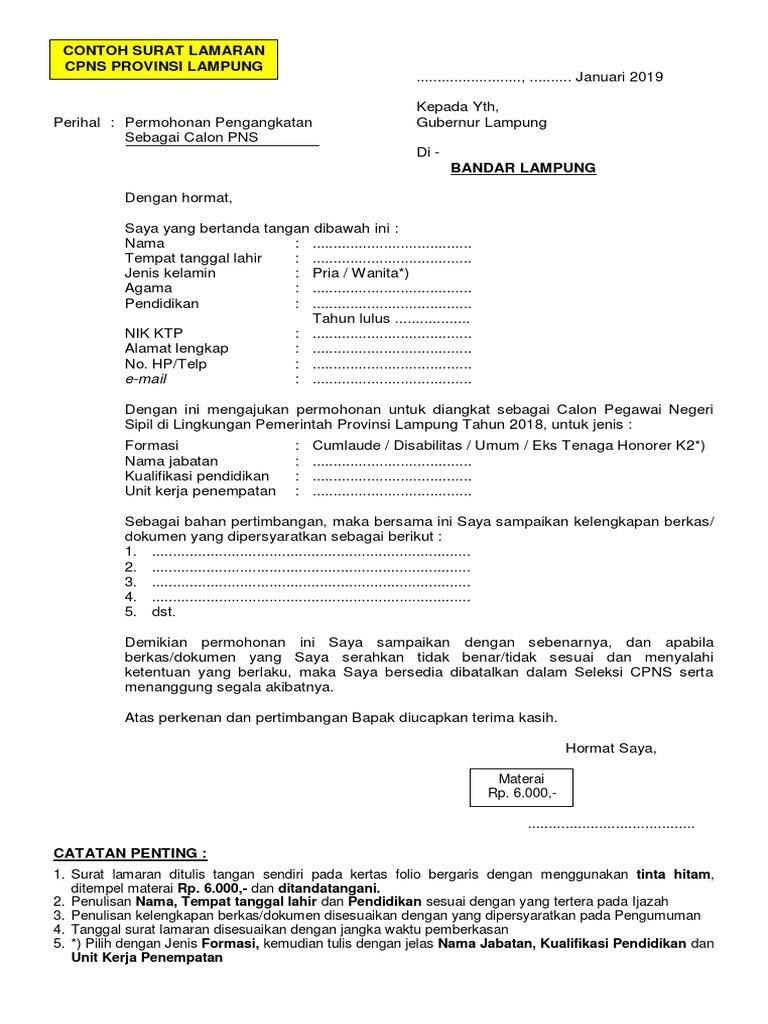 Contoh Surat Lamaran Kerja Cpns Provinsi Lampung Id Lif Co Id