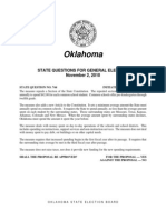 OKLAHOMA STATE QUESTIONS FOR GEN. ELECTION, NOV 2 2010