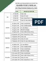 Jadwal khutbah 2019