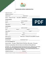 Family Membership Certificate -Application Form