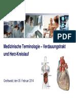 Medizinische Terminologie Verdauungstrakt Und Herz-Kreislauf