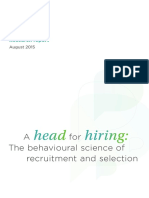 A Head for Hiring 2015 Behavioural Science of Recruitment and Selection Tcm18 9557
