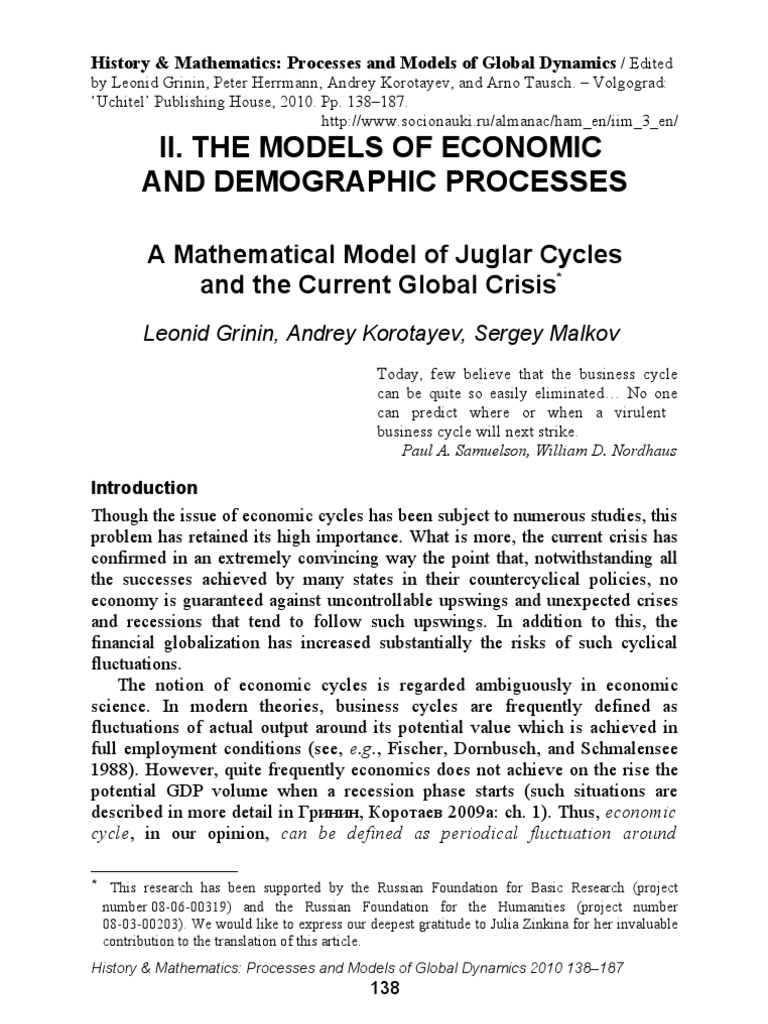 Nordhaus Dk a mathematical model of juglar cycles and the current global crisis