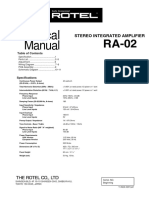 Rotel RA 02 Service Manual