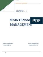 Maintenance Management 1