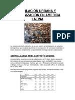 La Urbanización de La Población de Un País Resulta de La Interacción de Variables Demográficas Que Producen Aumentos en La Proporción de Personas Residentes en Áreas Urbanas o (1)