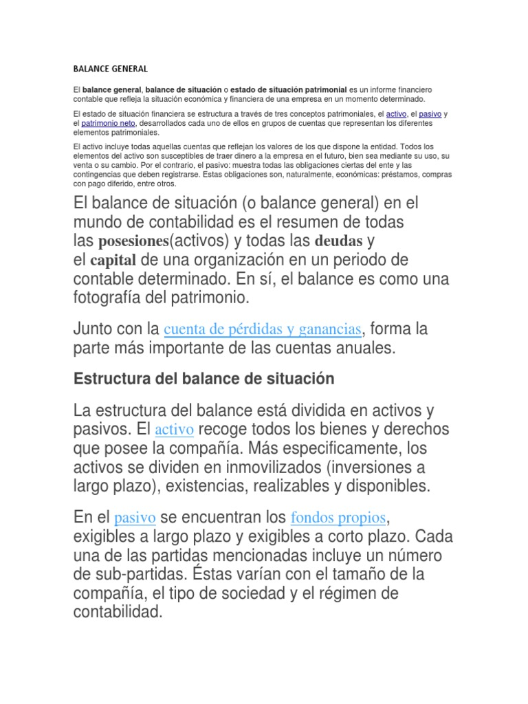 Balance General Estados Financieros Situacion Financiera Etc