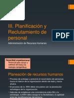 III. Planeación y Reclutamiento de Personal-A