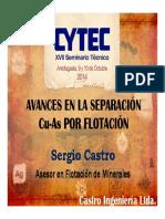 01 Avances en La Separacion Cu-As Por Flotacion - Sergio Castro Consultor