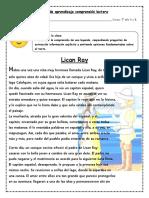 Guía de Aprendizaje Comprensión Lectora Leyenda de Lican Ray