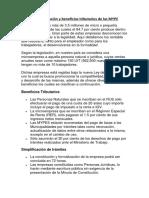 La Formalización y Beneficios Tributarios de Las MYPE