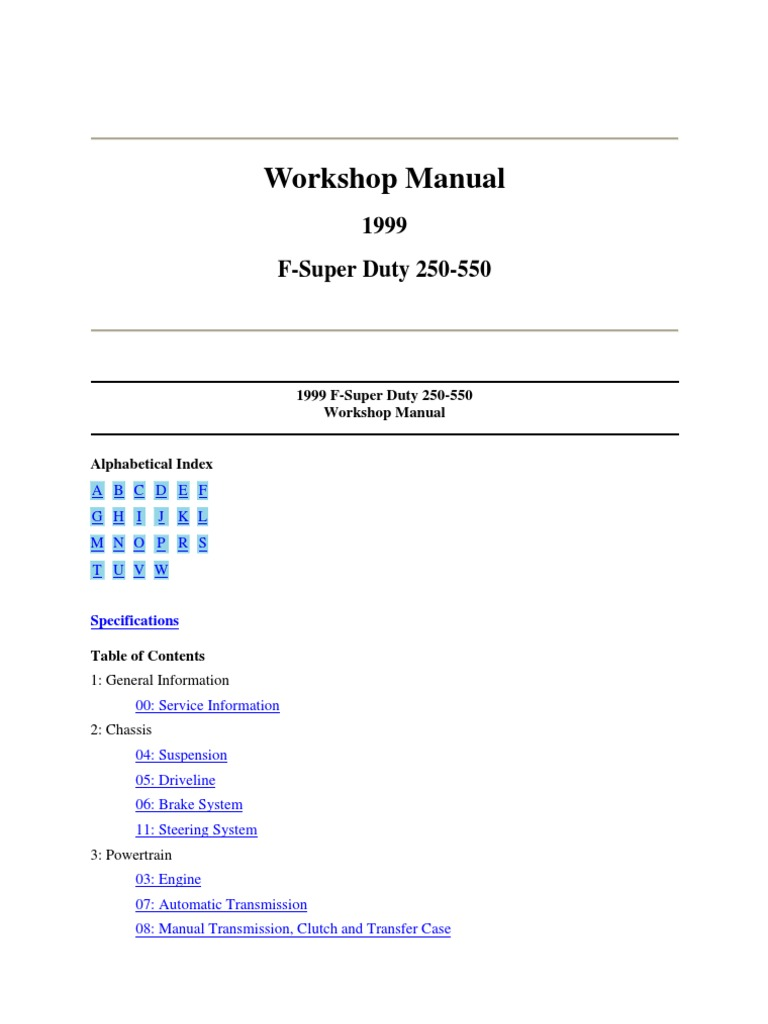 WS Manual 1999 F-Super Duty-S 1, G 00_Gen Info, & S2, Susp Driveline -  Part 1-A | Suspension (Vehicle) | Transmission (Mechanics)