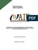 Propuesta Del Plan de Implementación Del Control Interno Administrativo en El Departamento de Instalación de Equipos de Levante Para Camiones de Volteo