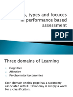 Domains Types and Focuces in Performance Based