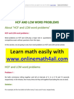HCF and LCM Word Problems