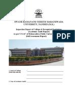 Self Assessment Report S.R.T.M.University Nanded