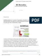 ▷ ACEROLA (vitamina C)_ Propiedades, Beneficios y Comprar
