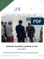 Estetizar la política, politizar el arte | Cactus
