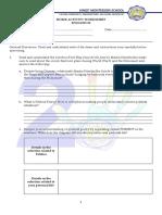 Home Activity Worksheet English 10