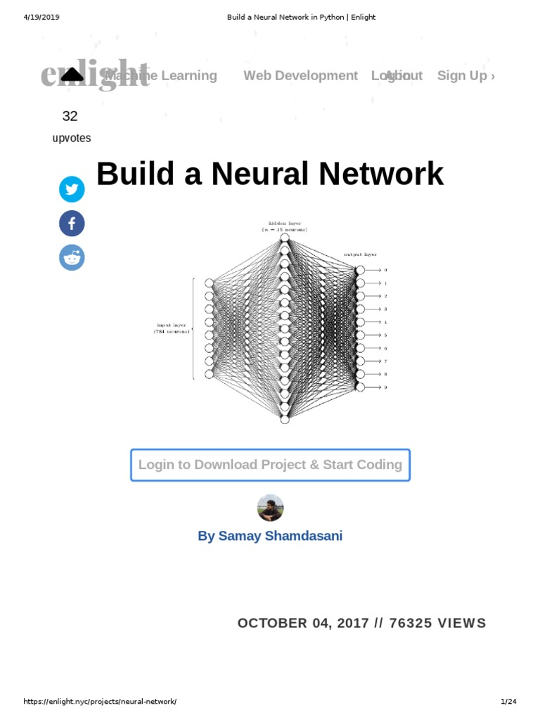 Build a Neural Network: enlight