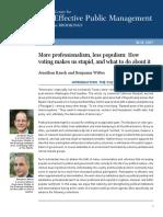 More Professionalism Less Populism
