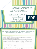 Transformación de Los Materiales Ciencias Naturales