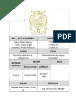 Informe Final de Circuitos Electricos 2 N 1 FIEE UNMSM PDF