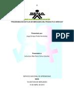 Programación de Plan de Mercadeo Del Producto o Servicio