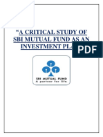 A Critical Study of Sbi Mutual Fund as an Investment Plan