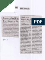 Manila Times, Apr. 22, 2019, Arroyo to lead first Boao Forum in PH.pdf