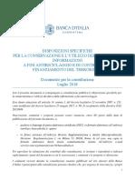 Documento Consultazione Conservazione Dati Antiriciclaggio 2018
