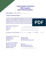 Academic MBA Letter
