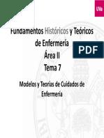 Fundamentos Históricos y Teóricos de Enfermería Área II. Modelos y Teorías de Cuidados de Enfermería