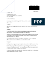 Letter to Director General Coutts Trotter dated 31 August 2007