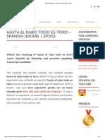 Spanish Idioms_ Hasta El Rabo Todo Es Toro