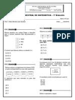 Avaliação Bimestral de Matemática - 6º Ano