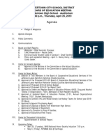 Watertown City School District Board of Education agenda April 25, 2019