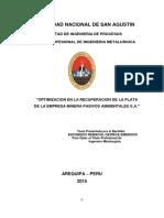 Optimizacion en la Recuperacion de plata de Minera Pasivos Ambientales.pdf