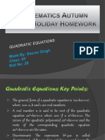Mathematics Autumn Break Holiday Homework