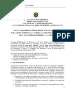 Edital Seleção de Não Bolsistas PET 2019.1