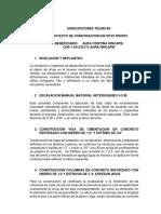 ESPECIFICIONES TECNICAS ALDEMAR
