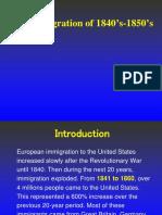 Irish Immigration of 1840's-1850's