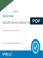 AutoCADElectricalEssentialTraining Certificate