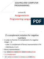 Pscp Lecture 05 Assignment & Number Representations