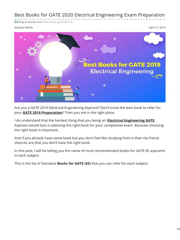 Best Books for GATE 2020 Electrical Engineering Exam