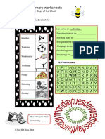 Busy Bee Worksheet 3 Days of the Week