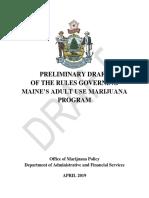 Preliminary Draft of the Rules Governing Maine's Adult Use Marijuana Program