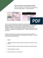 Thai Resident Certificate