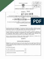 Decreto 2439 Del 27 de Diciembre de 2018 Tárifas Impuestos de Vehículos 2019